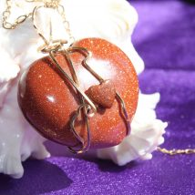 Natural Brown Shiny Heart's Designed Stone